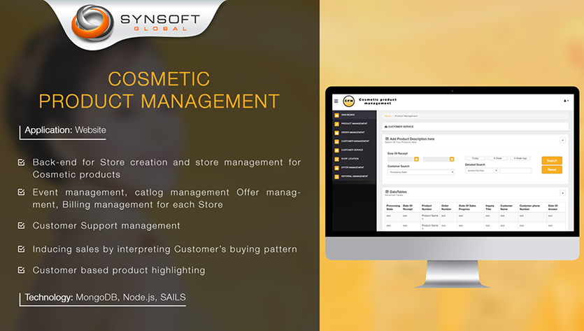 Cosmetic Product Management Website Design